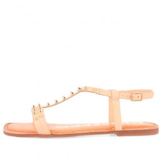 Sandalia tachas oro rosa de...